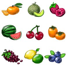 Colorized Fruit Sketches for ELF Learning's English Language Curriculum